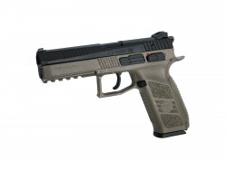 Airsoftpistol GBB CZ P-09 incl. case. Flat Dark Earth
