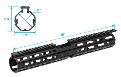 "UTG PRO AR15 Super Slim M-LOK® 15"" Drop-in Car. Length Rail"