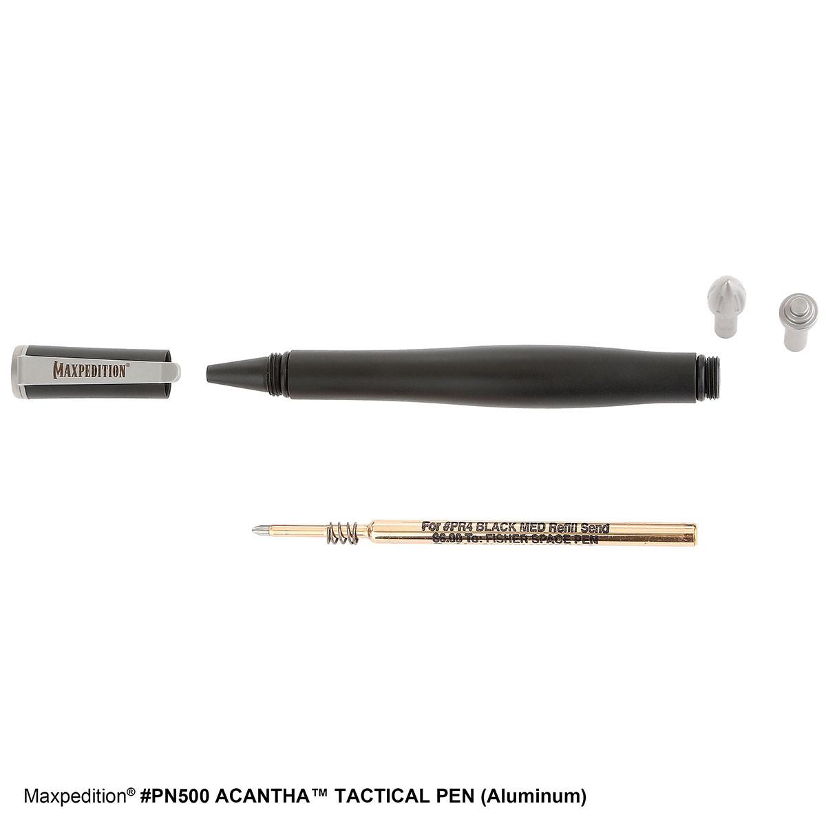 "5 Maxpedition Acantha Tactical Pen PN500AL 5/"" closed with Lancet end attachment"